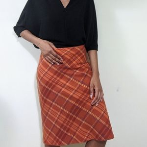 Zara Orange Wool Plaid Midi Skirt 6